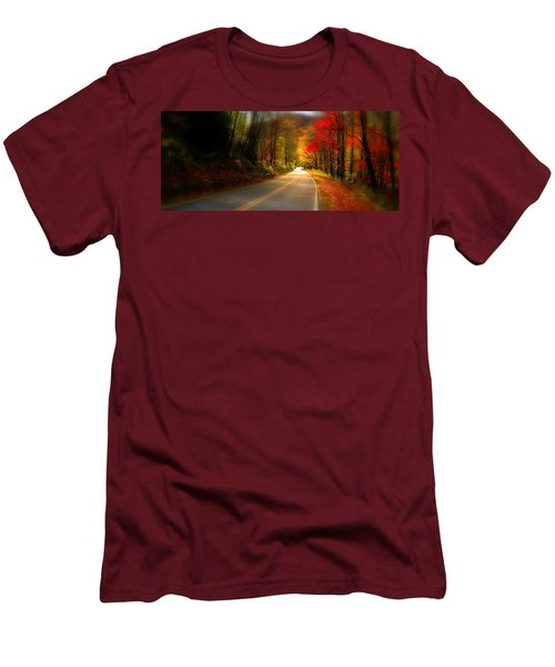 Nc Mountain Fall Drive Men's T-Shirt (Slim Fit) by Gray  Artus