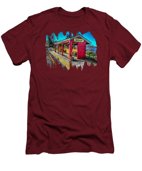 Men's T-Shirt (Slim Fit) featuring the photograph Norm Laknes Train Station by Thom Zehrfeld