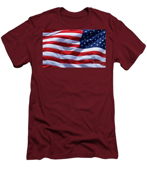 Men's T-Shirt (Slim Fit) featuring the photograph Stitches Old Glory American Flag Art by Reid Callaway