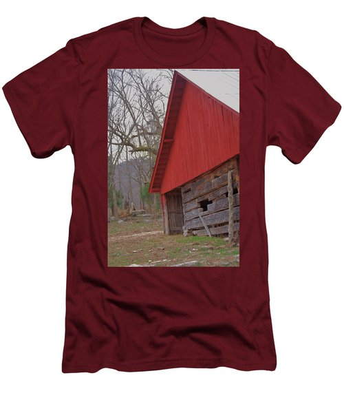 Men's T-Shirt (Slim Fit) featuring the photograph Old Log Barn by Debbie Karnes