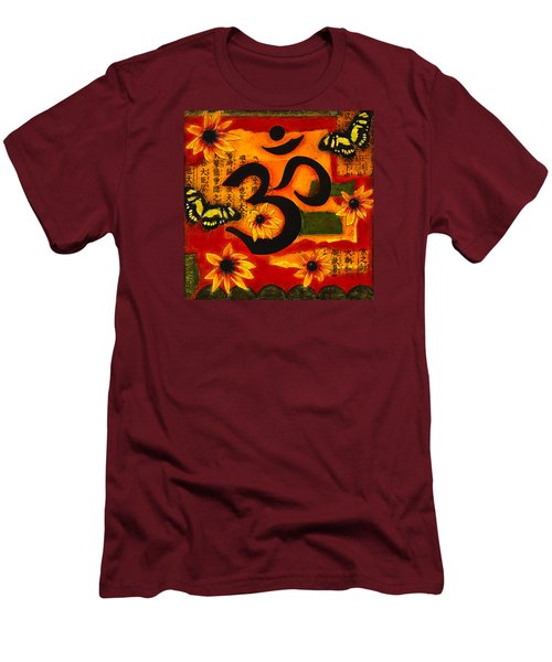 Men's T-Shirt (Slim Fit) featuring the mixed media Om by Gloria Rothrock