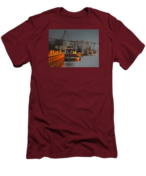 On The Waterfront Men's T-Shirt (Slim Fit) by Laura Ragland