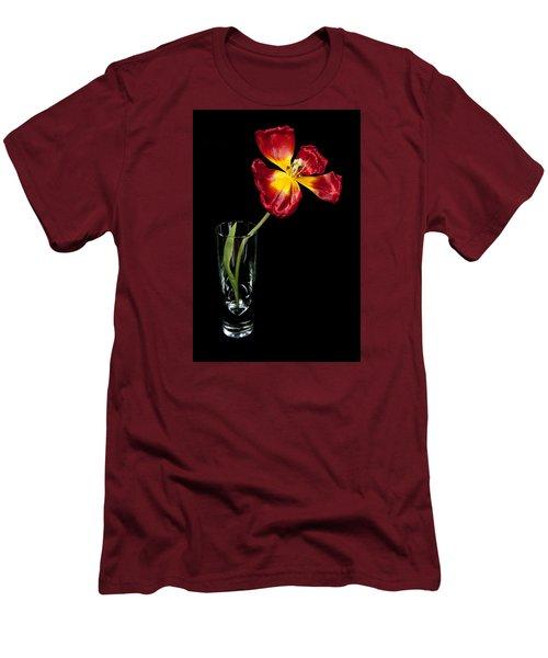 Open Red Tulip In Vase Men's T-Shirt (Slim Fit) by Helen Northcott