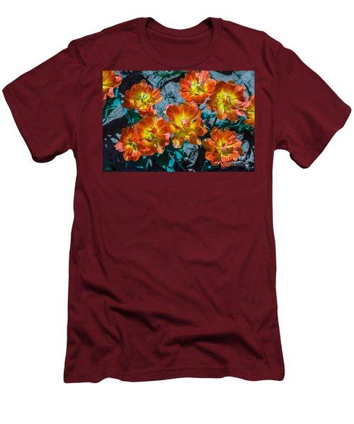 Orange And Yellow Tulips Men's T-Shirt (Slim Fit) by John Roberts