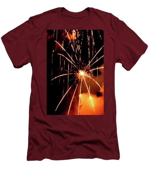 Orange Chetola Fireworks Men's T-Shirt (Slim Fit) by Meta Gatschenberger