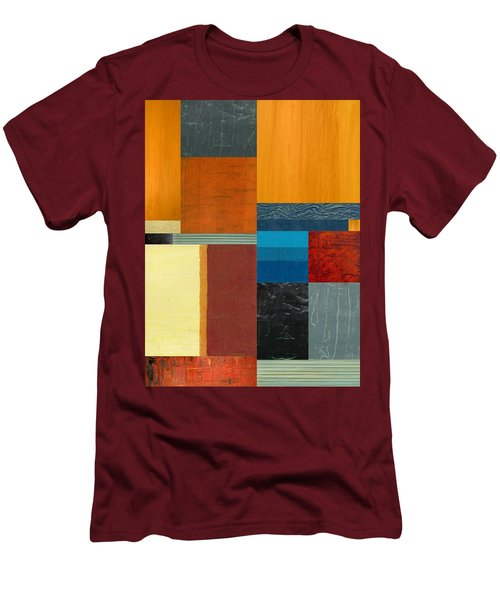 Men's T-Shirt (Slim Fit) featuring the painting Orange Study With Compliments 3.0 by Michelle Calkins