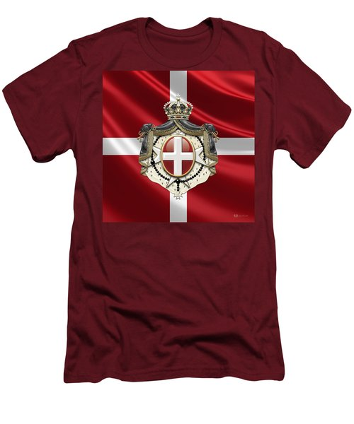 Order Of Malta Coat Of Arms Over Flag Men's T-Shirt (Athletic Fit)