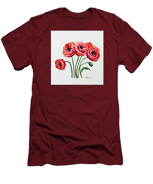 Oriental Poppies Men's T-Shirt (Slim Fit) by Elizabeth Robinette Tyndall
