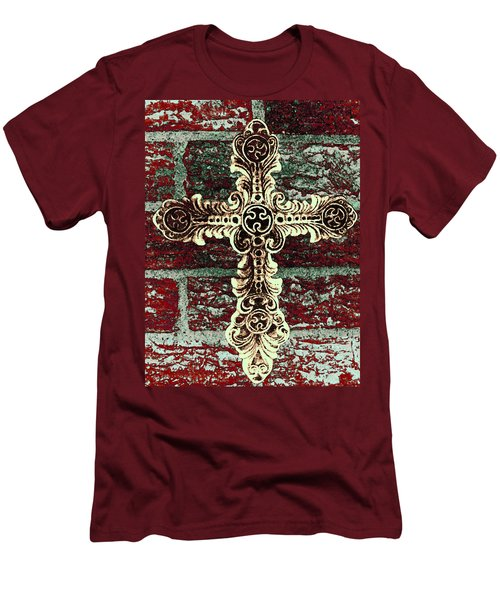 Ornate Cross 1 Men's T-Shirt (Slim Fit) by Angelina Vick
