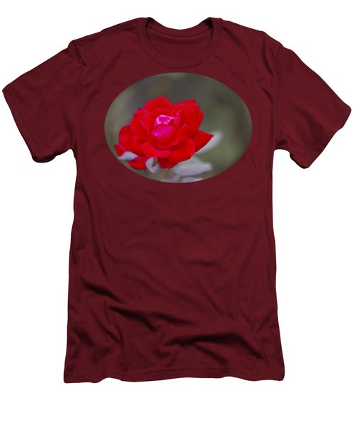 Oval Rose Motif Men's T-Shirt (Slim Fit) by Linda Phelps