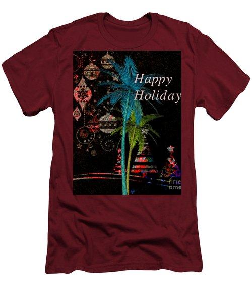 Men's T-Shirt (Slim Fit) featuring the digital art Palm Trees Happy Holidays by Megan Dirsa-DuBois