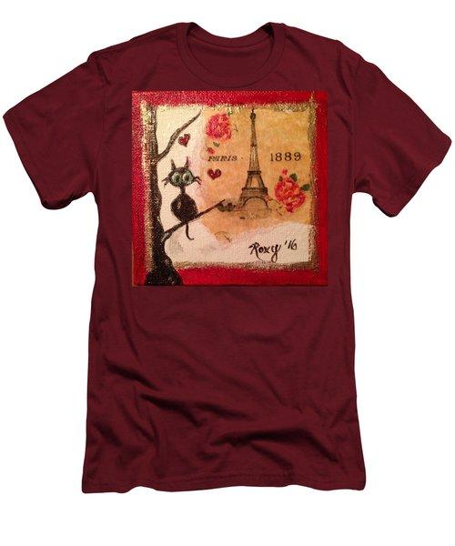 Paris Cat  Men's T-Shirt (Slim Fit) by Roxy Rich