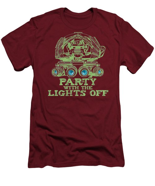 Men's T-Shirt (Slim Fit) featuring the mixed media Party With The Lights Off by TortureLord Art