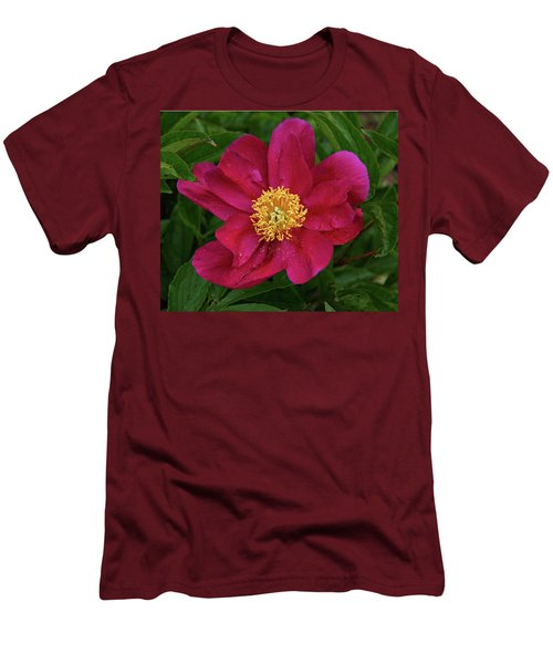 Men's T-Shirt (Slim Fit) featuring the photograph Peony In Rain by Sandy Keeton