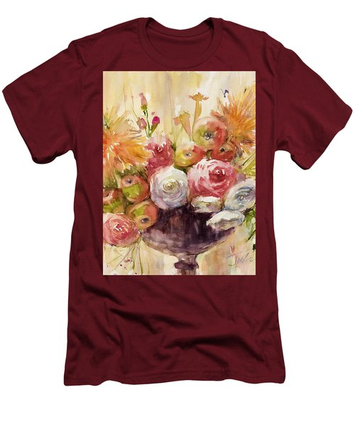 Petite Apples In Floral Men's T-Shirt (Athletic Fit)