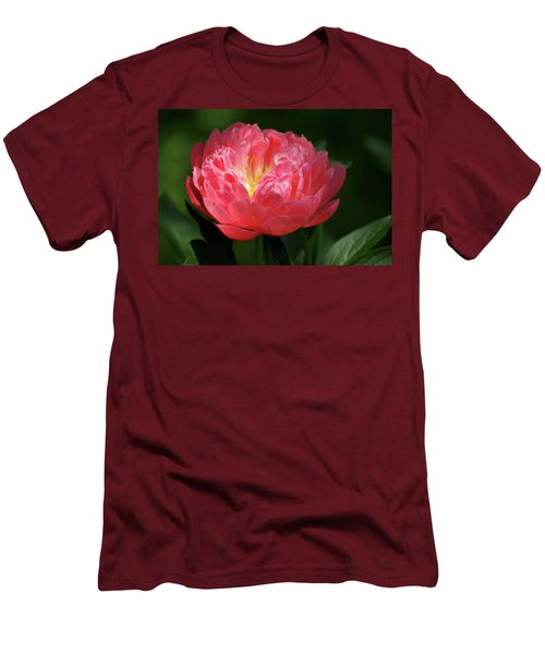 Men's T-Shirt (Slim Fit) featuring the photograph Pink Rose by Jean Haynes