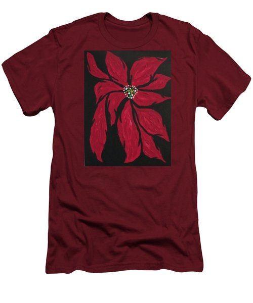Men's T-Shirt (Slim Fit) featuring the painting Poinsettia - The Season by Sharyn Winters
