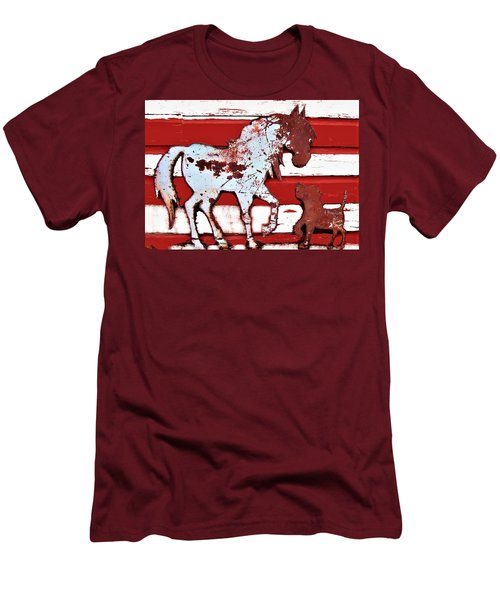Pony And Pup Men's T-Shirt (Slim Fit) by Larry Campbell