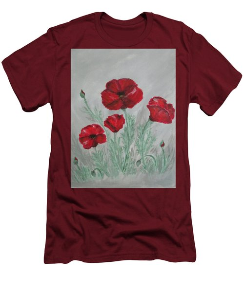 Poppies In The Mist Men's T-Shirt (Slim Fit) by Sharyn Winters