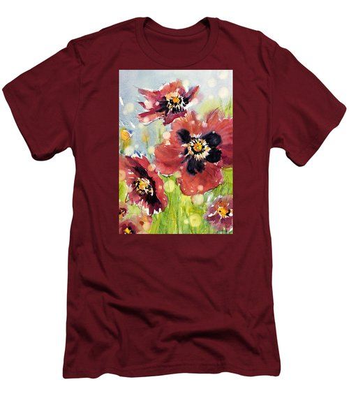 Poppies Men's T-Shirt (Slim Fit) by Judith Levins