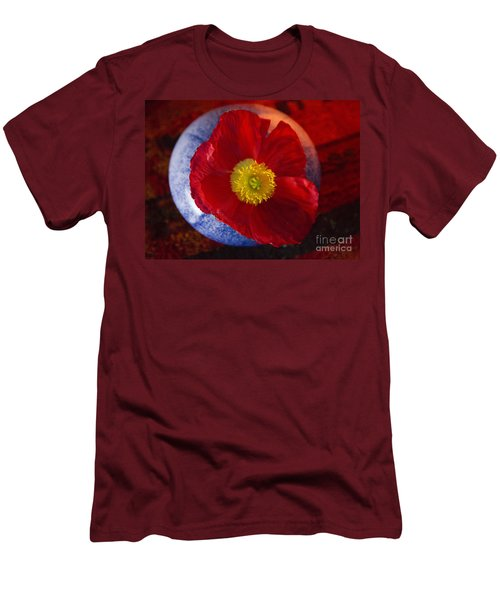 Men's T-Shirt (Slim Fit) featuring the photograph Poppy On Orange by Jeanette French