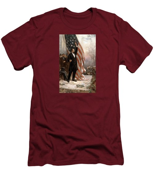 President Abraham Lincoln Giving A Speech Men's T-Shirt (Athletic Fit)