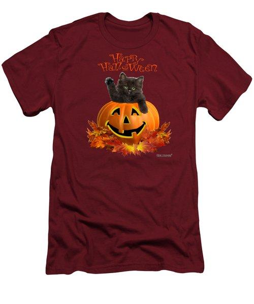 Pumpkin Kitty Men's T-Shirt (Slim Fit) by Glenn Holbrook