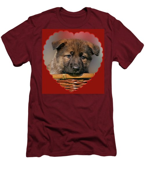 Men's T-Shirt (Slim Fit) featuring the photograph Puppy In Red Heart by Sandy Keeton