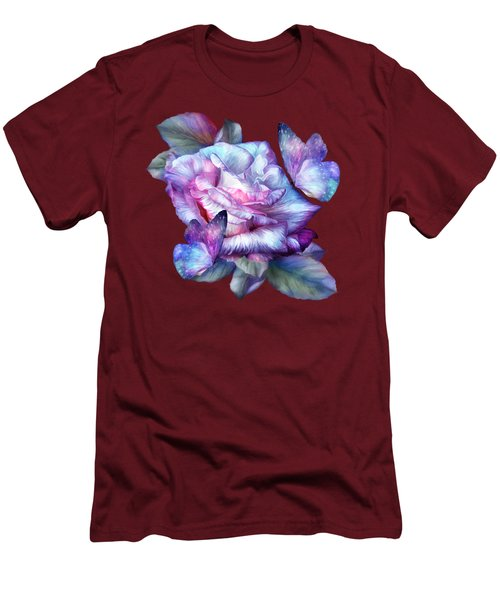 Men's T-Shirt (Slim Fit) featuring the mixed media Purple Rose And Butterflies by Carol Cavalaris