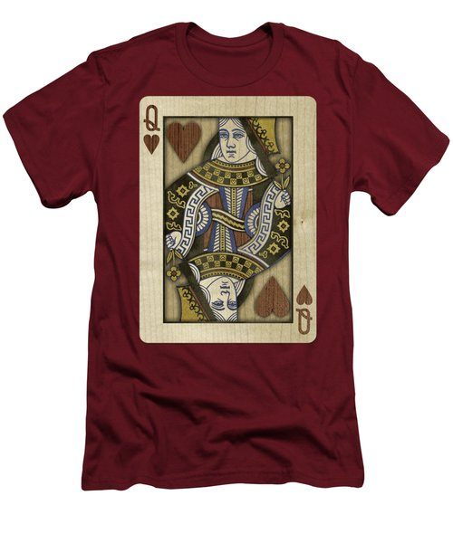 Queen Of Hearts In Wood Men's T-Shirt (Athletic Fit)