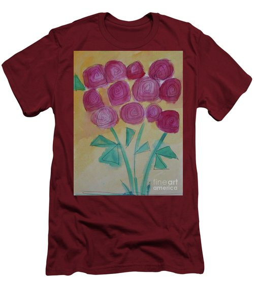 Men's T-Shirt (Slim Fit) featuring the painting Randi's Roses by Kim Nelson