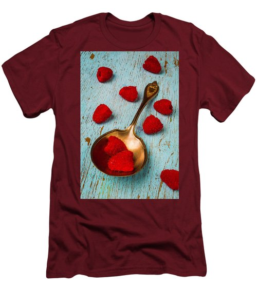 Raspberries With Antique Spoon Men's T-Shirt (Slim Fit) by Garry Gay