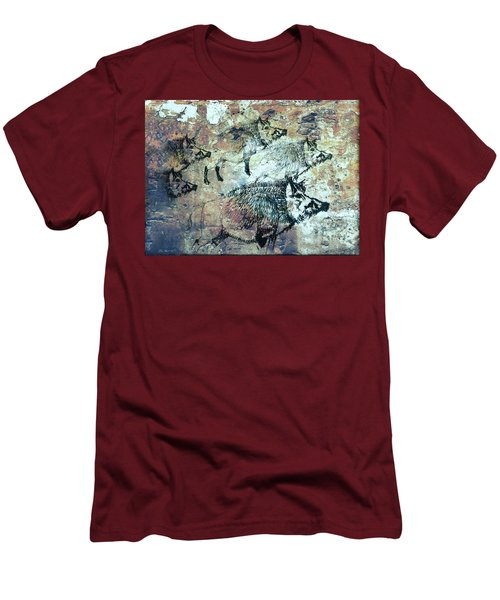Men's T-Shirt (Slim Fit) featuring the photograph Wild Boars by Larry Campbell