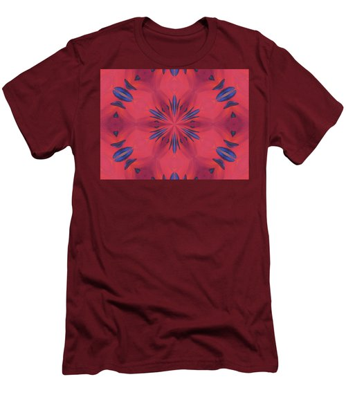 Men's T-Shirt (Athletic Fit) featuring the mixed media Red And Blue by Elizabeth Lock