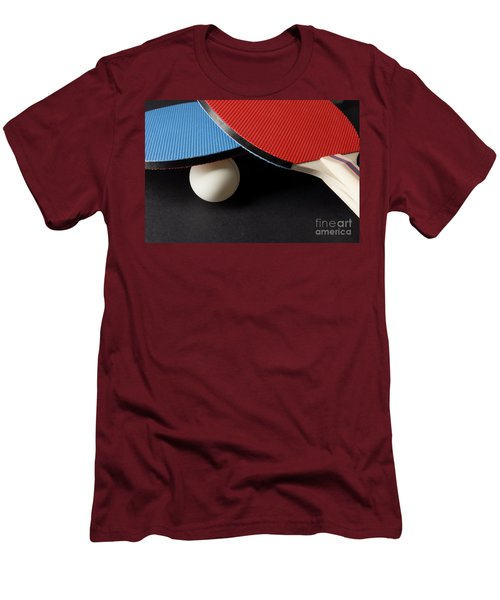 Red And Blue Ping Pong Paddles - Closeup On Black Men's T-Shirt (Athletic Fit)