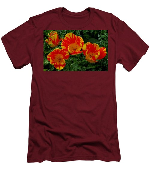 Red And Yellow Flower Men's T-Shirt (Slim Fit) by John Topman