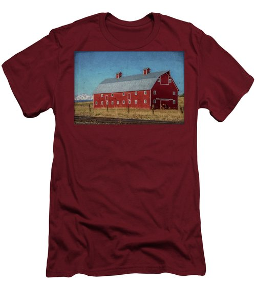 Red Barn By The Railroad Tracks Men's T-Shirt (Athletic Fit)