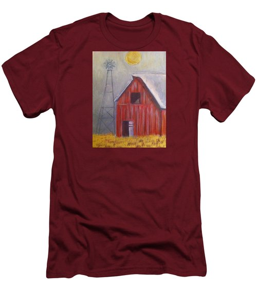 Red Barn With Windmill Men's T-Shirt (Athletic Fit)