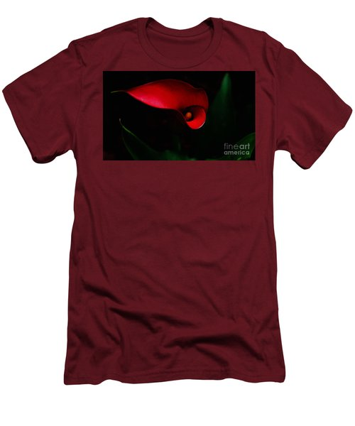 Red Calla Lilly Men's T-Shirt (Slim Fit) by Debra Crank