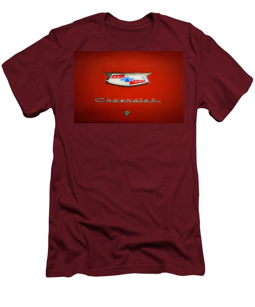 Men's T-Shirt (Slim Fit) featuring the photograph Red Chevy Bel-air Trunk by Marilyn Hunt