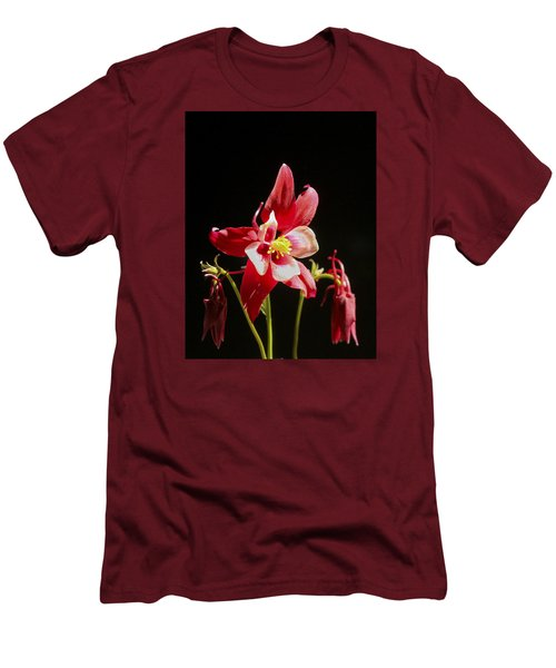 Red Columbine Flower Men's T-Shirt (Slim Fit) by Christina Lihani
