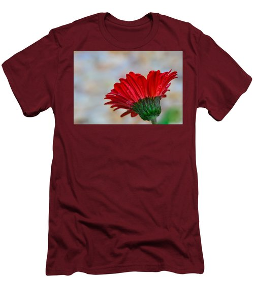 Men's T-Shirt (Slim Fit) featuring the photograph Red Daisy  by John Harding