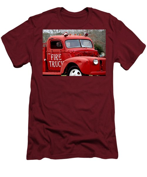 Red Fire Truck Men's T-Shirt (Slim Fit) by Michael Thomas