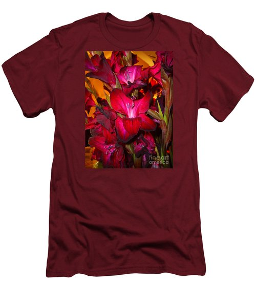 Men's T-Shirt (Slim Fit) featuring the photograph Red Gladiolus Macro Photograph by Merton Allen