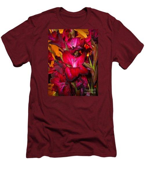 Red Gladiolus Macro Photograph Men's T-Shirt (Slim Fit) by Merton Allen