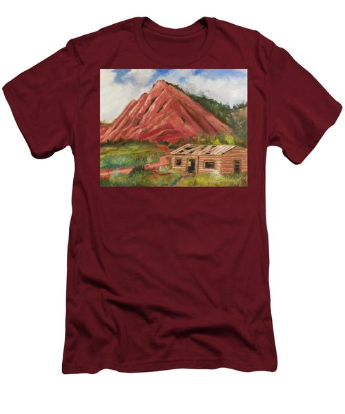 Red Hill And Cabin Men's T-Shirt (Slim Fit) by Sherril Porter