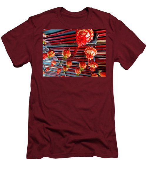 Men's T-Shirt (Slim Fit) featuring the photograph Red Lanterns 3 by Randall Weidner