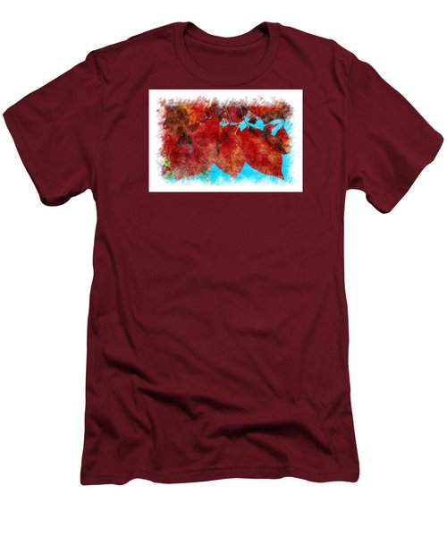 Men's T-Shirt (Slim Fit) featuring the photograph Red Leaves by Jean Bernard Roussilhe