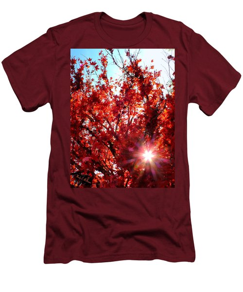 Men's T-Shirt (Slim Fit) featuring the photograph Red Maple Burst by Wendy McKennon
