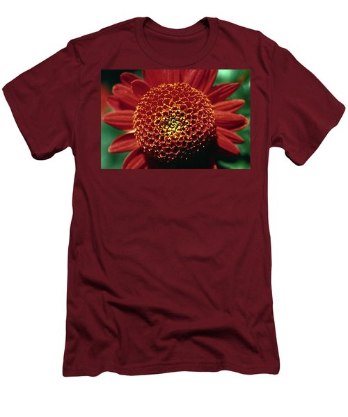 Men's T-Shirt (Slim Fit) featuring the photograph Red Mum Center by Sally Weigand